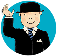 Our mascot Mr Benn waving whilst wearing a smart black suit and bowler hat