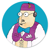 The Shopkeeper from Mr Benn wearing a headset with microphone ready to call a customer back