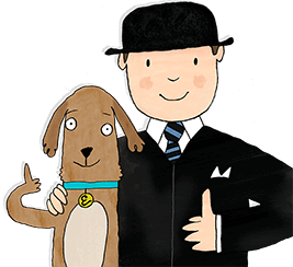 Mr Benn and his brown dog Eddie both giving the thumbs up