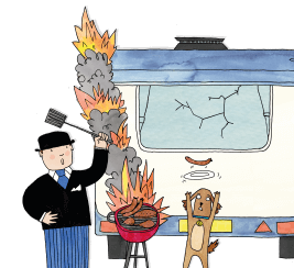 Our mascot Mr Benn trying to control a flaming barbecue behind a touring caravan whilst a brown dog tries to catch a sausage on a plate