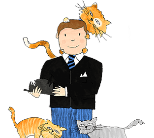 Mr Benn holds his clawed bowler hat in his hands whilst a ginger cat sits on his head and two other cats rub themselves on his legs