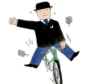 Mr Benn struggles to stay on his green bicycle after both the pedals fall off