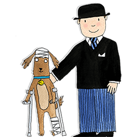 Eddie the brown dog is walking with crutches and has bandages on his head and leg. Mr Benn is shown supporting him with his hand on his back