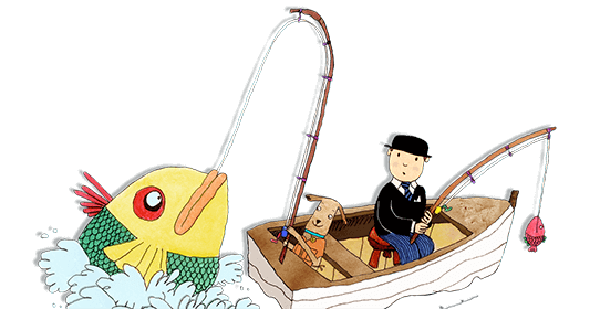 Mr Benn and Eddie the brown dog are fishing from a small boat. Mr Benn has caught a tiny pink fish whilst Eddie has caught a huge yellow fish.