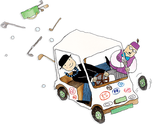 Mr Benn is struggling to keep control of a golf buggy when a wheel falls off. Golf clubs and balls are flying everywhere.