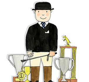 Mr Benn is dressed as a horse rider and is surrounded by all the trophies he has won