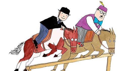 Mr Benn and the Shopkeeper are shown riding horses that are both jumping at the same time over a wooden fence.