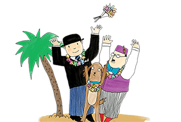 Mr Benn, the Shopkeeper and Eddie the brown dog are shown standing on an exotic island trying to catch the bouquet thrown by a bride