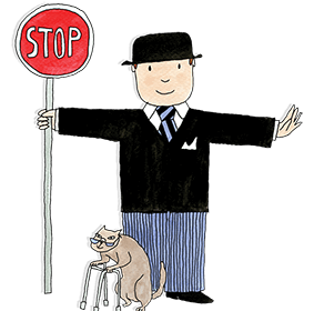 Mr Benn is shown holding a red stop sign and holding traffic whilst an old cat using a zimmer frame safely crosses the road