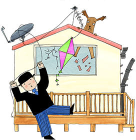 Mr Benn flying a green a pink and green kite that has become tangled on a static caravan. Eddie the brown dog is on the roof looking worried.
