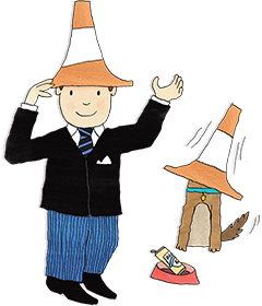 Mr Benn and Eddie the brown dog are shown with traffic cones on their heads pretending to be students