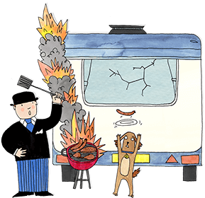 Mr Benn is standing behind his touring caravan trying to fan the flames of his barbecue as Eddie the brown dog tries to catch a sausage on a plate