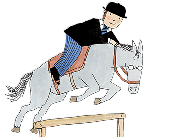 Mr Benn is shown riding an older horse. The horse is wearing glasses and jumping over a wooden fence.