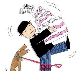 Eddie the brown dog's lead has become tangled around Mr Benn's leg and he's struggling not to drop the big wedding cake he's carrying