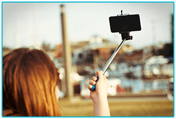 What kind of photographer are you? Taking selfie with stick.