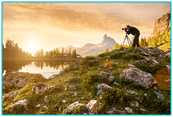 What kind of photographer are you? Man taking landscape photography.