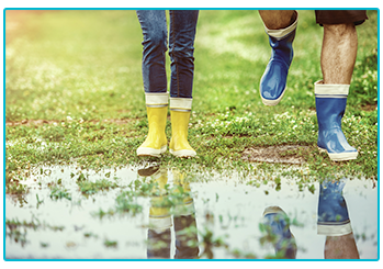 Rainy day activities for your caravan holiday - get out for a walk in wellies