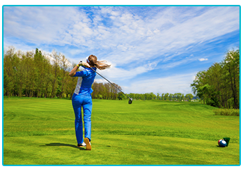 Women's golf fashion - the colour blue is on trend
