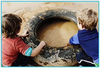 Types of caravanner - kids playing in the mud