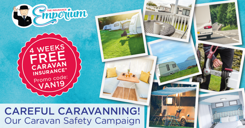 careful caravanning campaign, describing our new caravan safety campaign, with a promo code for 4 weeks free caravan insurance with the code VAN19