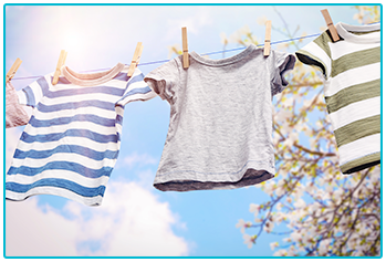 save energy in the home - t-shirts on washing line