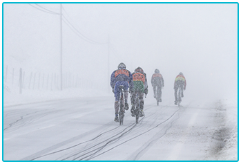 Winter cycling - group of cyclists in the snow