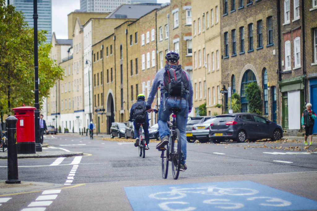Cyclists in City Cycle to Work